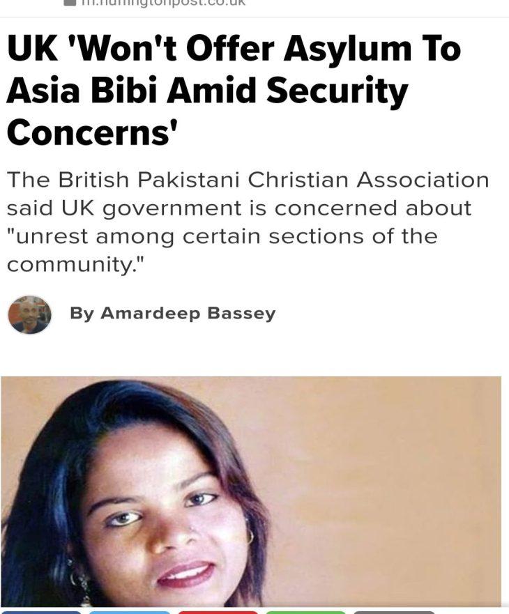 Il Regno Unito rifiuta l'asilo umanitario ad Asia Bibi per paura di rivolte islamiche. Speriamo si muova l'Italia