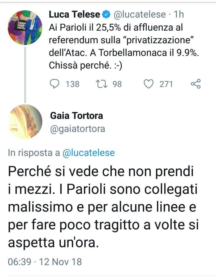 GAIA TORTORA (LA7) E I DISSERVIZI DI ATAC AI PARIOLI