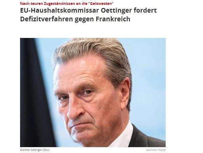 Oettinger chiede la procedura contro la Francia (mentre Moscovici ha già la cadrega pronta a 14500 euro al mese).