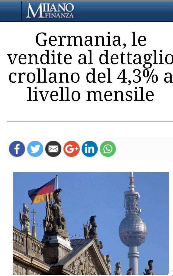 L'ARMATA BRANCALEONE CRUCCA PERDE ANCHE IL MERCATO INTERNO