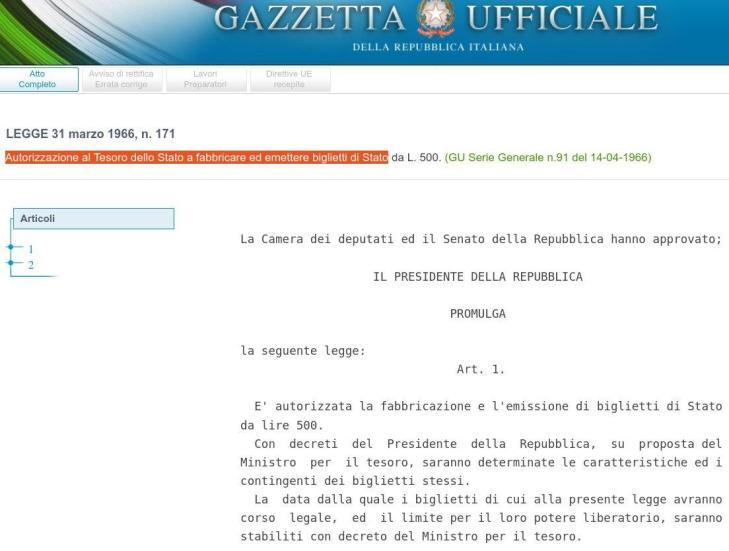 Biglietti di Stato: autorizzati da Moro nel 1966, vietati da Scalfaro, Prodi, Dini, Ciampi, Visco nel 1998