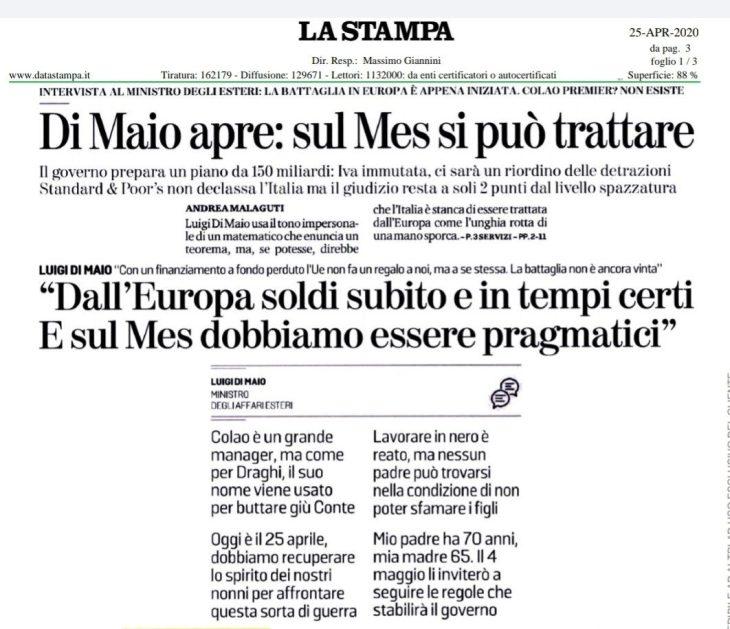 DI MAIO TRADISCE SE STESSO E GLI ITALIANI: SI AL MES E MORIAMO PER MAASTRICHT