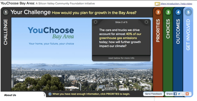 Screenshot of the YouChoose Bay Area website
