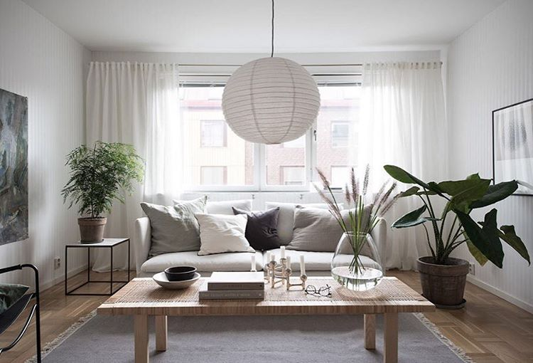 Scandinavian living room, light fixtures for home staging
