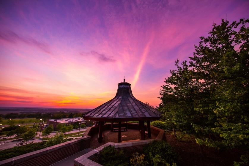 gazebo at sunset