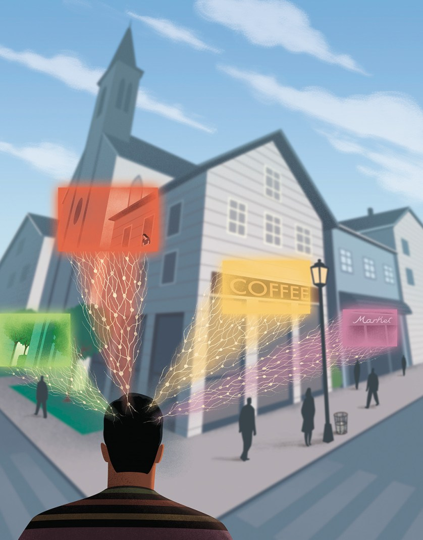 Illustration of a person looking at buildings that could be in a small town and neurons coming from his mind, signifying the connections he makes to and has with them.