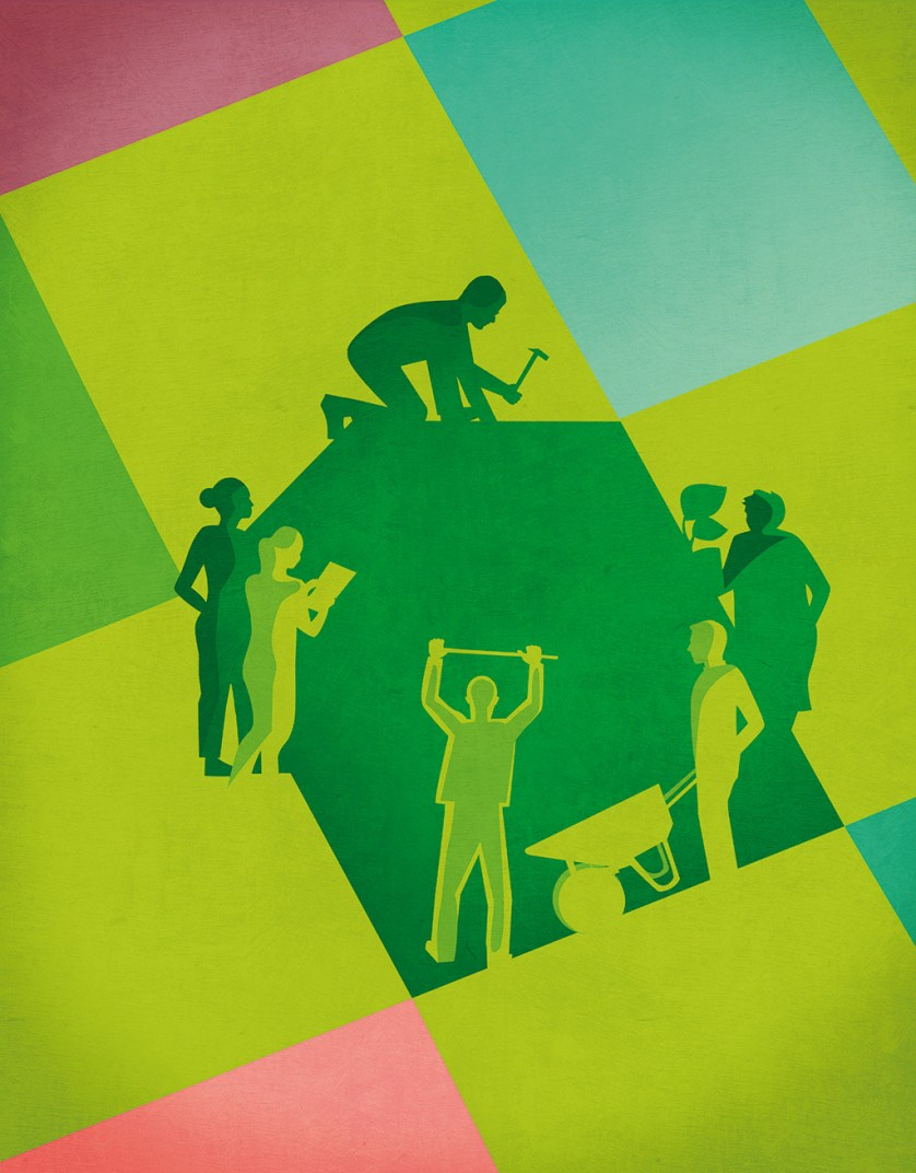 Illustration in pink, green and blue, with silhouettes of people working together to build a house.