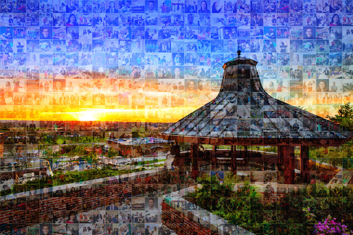 The Geneseo gazebo with hundreds of images of the faculty and students on top of it.