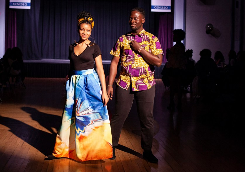 Members of the African Student Association at a fashion show.