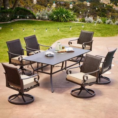 royal garden monte carlo 7 piece patio dining set with swivel dining chairs various colors