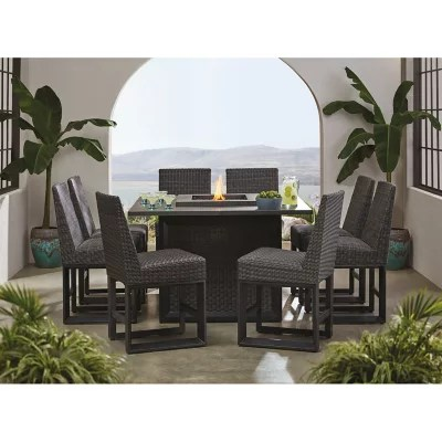member s mark adler 9 piece counter height dining set with fire pit