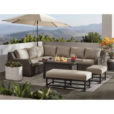 member s mark athena 7 piece sectional with firepit cast ash