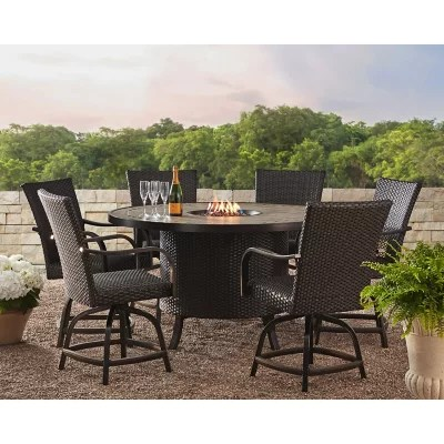 member s mark agio heritage 7 piece balcony dining set with fire pit