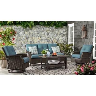 member s mark agio stockton 4 piece patio deep seating set with sunbrella fabric lagoon