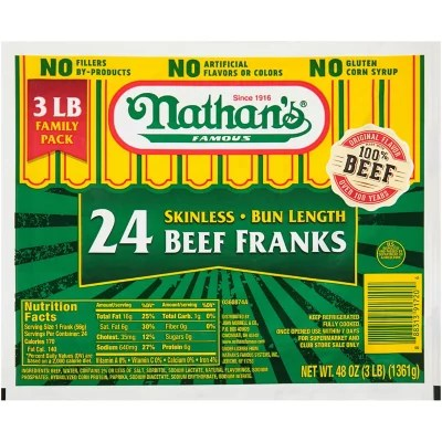 Nathan39s Famous Skinless Beef Franks 3 lb Sam39s Club
