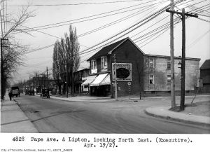 Future site of Pape Subway Station, 1927. Credit: City of Toronto Archives, Fonds 16, Series 71, Item 4828
