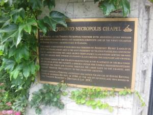 Toronto Necropolis Chapel plaque