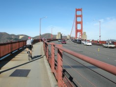 View from a bicycle on the Golden Gate Bridge