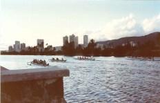 Daily kayak races every evening at a canal near the Waikiki Banyan