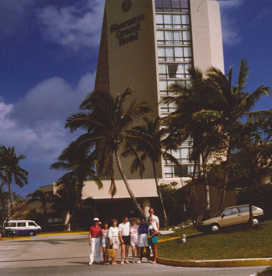 Co-workers in front of the Sheraton Grande Hotel, Nassau Bahamas Feb 1988