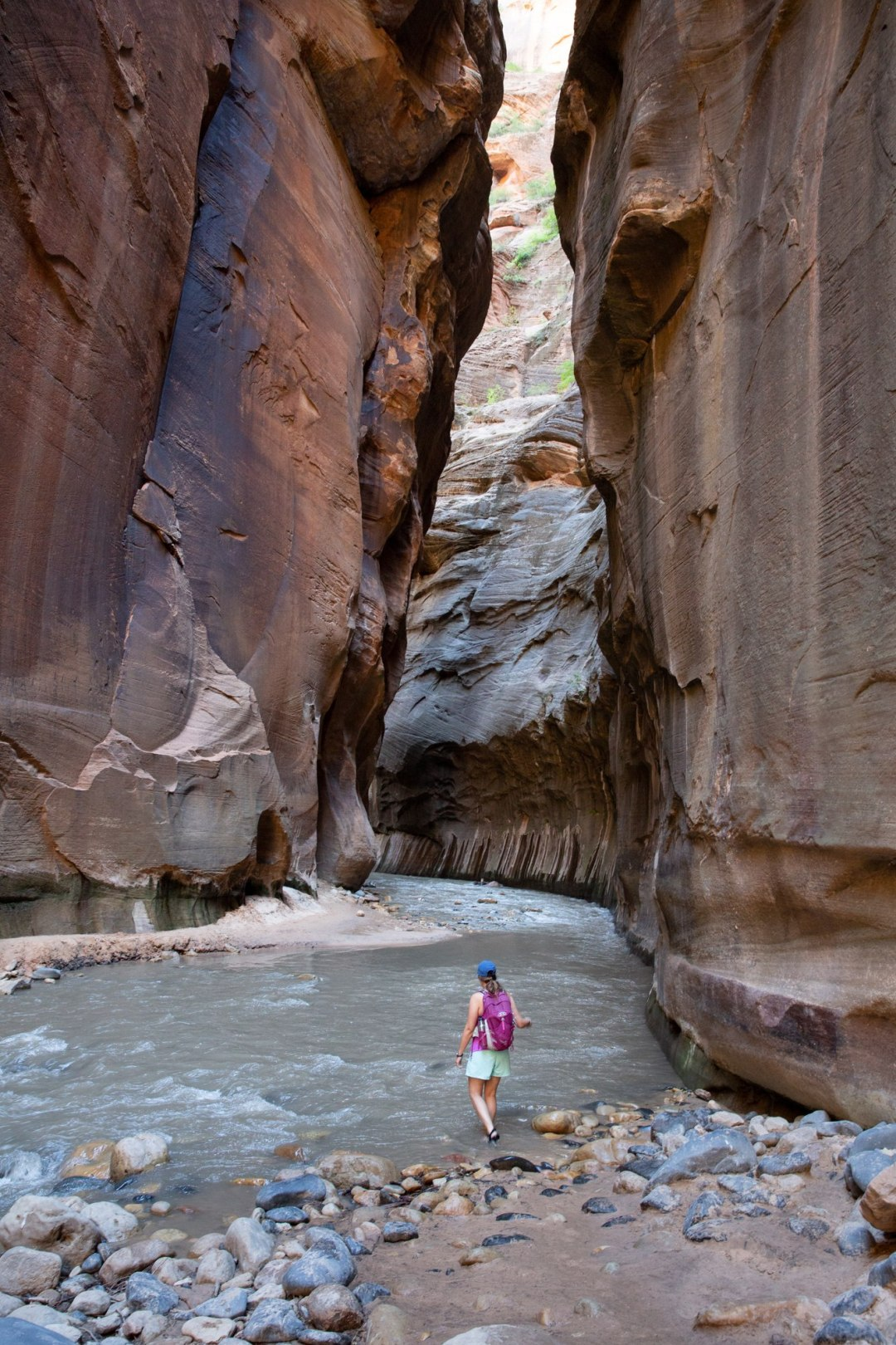 Always save a little time for adventure!  Beck wades through a section of the Narrows