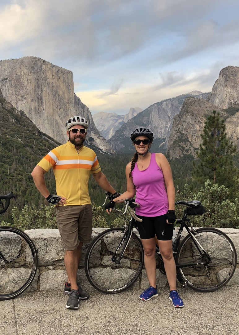 Brian & Becky, of Scenic Vows, out for nice bike ride in Yosemite Valley.