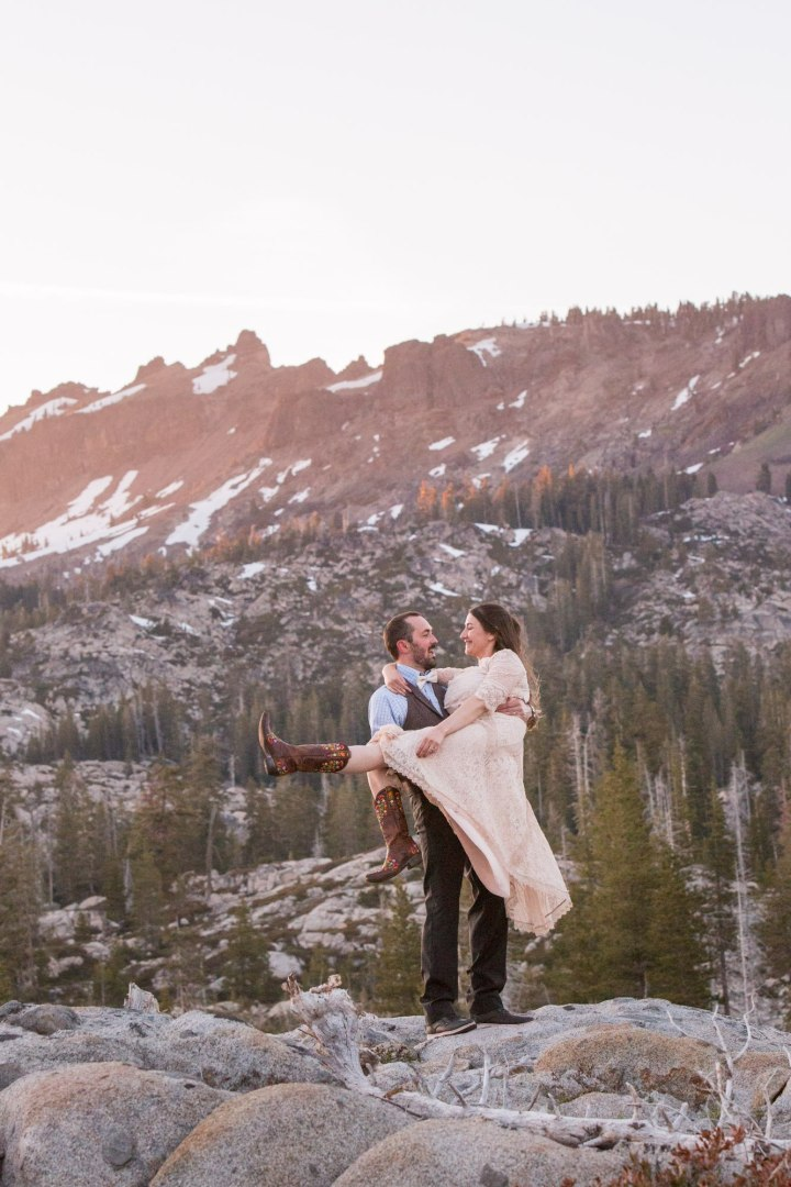 Happy bride and groom Tahoe intimate wedding
