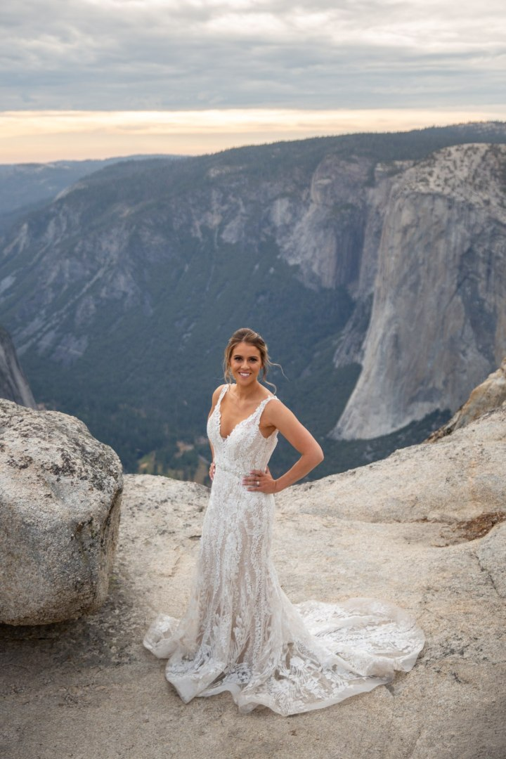 Stunning Bride wearing a beautiful dress for her adventure elopement