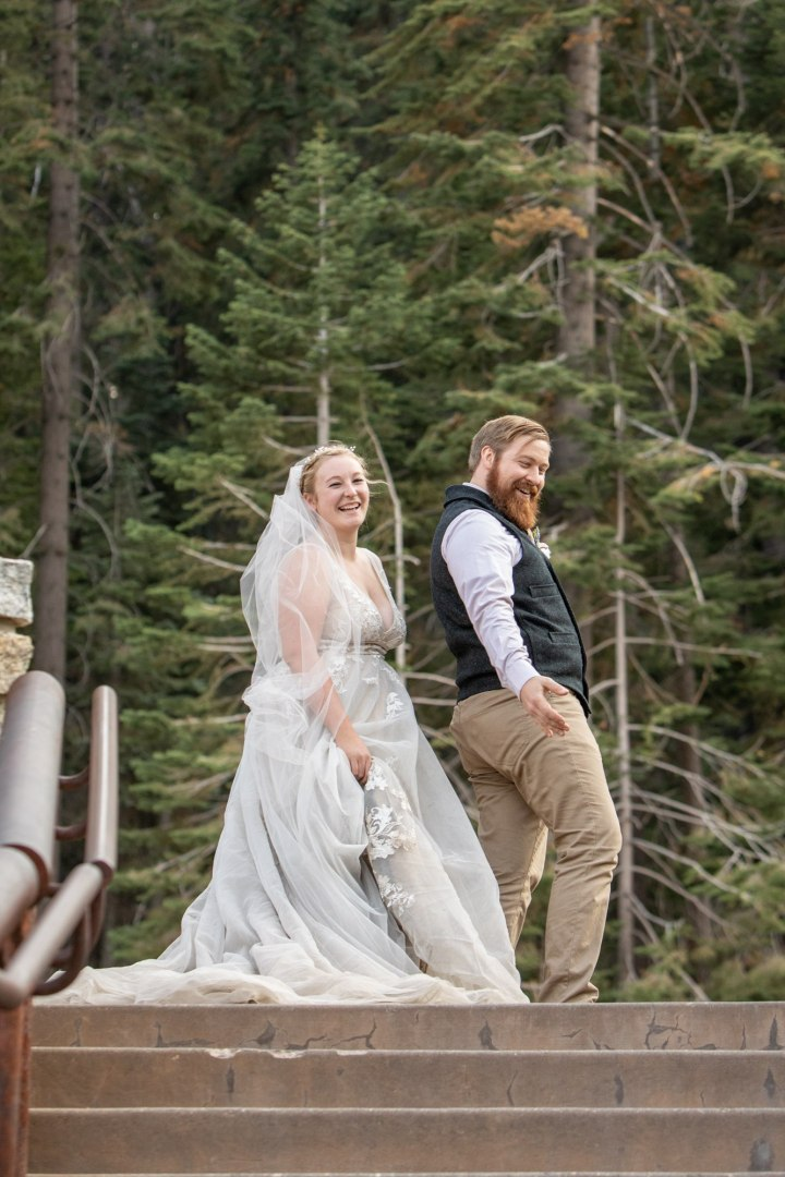 Having fun during this Yosemite adventure elopement.
