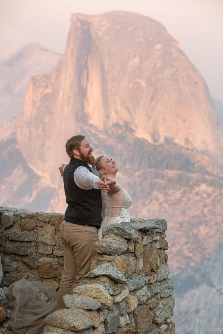 Titanic anyone? Newlyweds having fun during their Yosemite elopement.