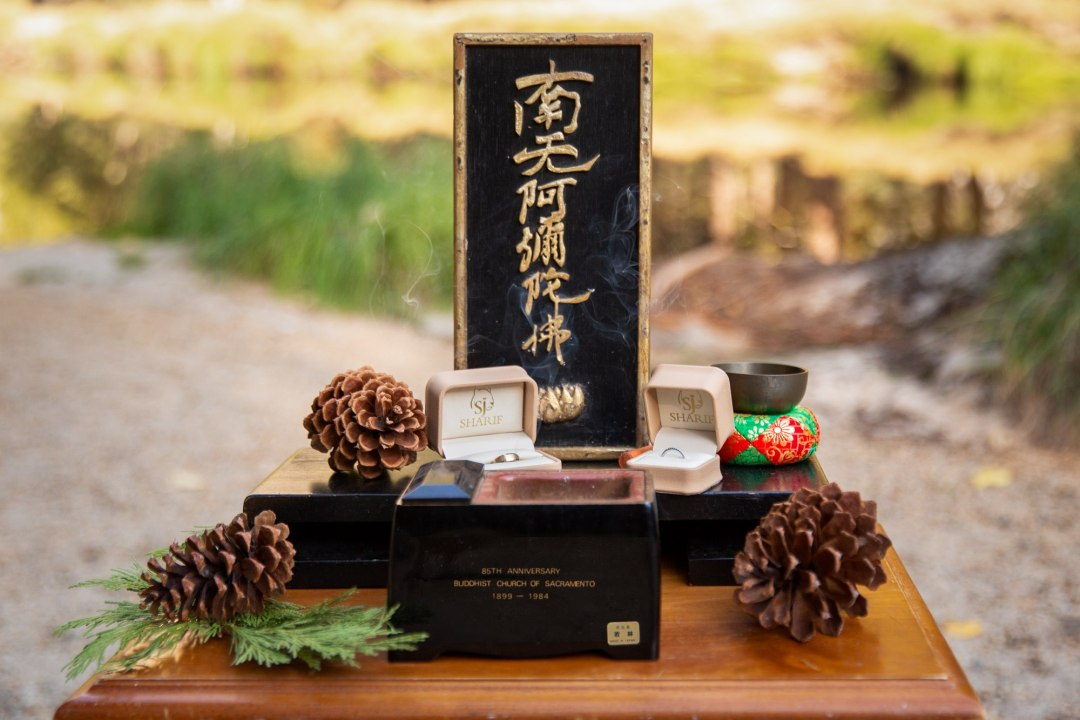 Details of the Buddhist alter for this Yosemite intimate wedding.