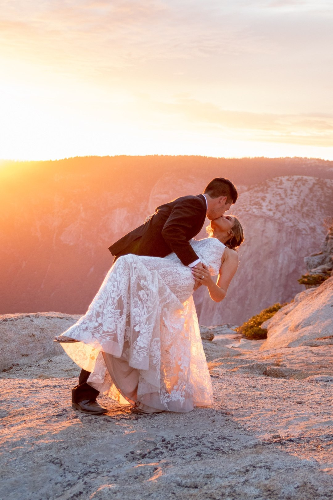 A perfect dip and kiss during an epic Taft Point Sunset in Yosemite.