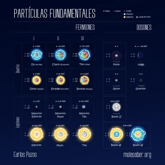 Fermiones, leptones, quarks, bosones, gluon, graviton, fotón, higgs