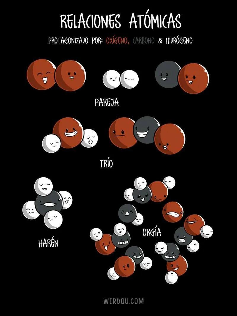 átomo, ciencia, divertido, gracioso, relaciones, humor, moléculas, átomos, tríos, parejas, orgías, química, biología