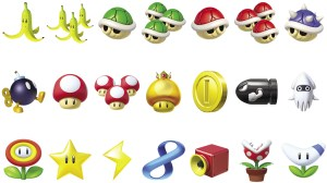The items of Mario Kart 8. The 4 on the bottom right are new.