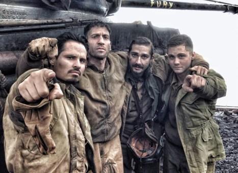 Michael Peña, Jon Bernthal, Shia Labeof and Logan Lerman, sons of Wardaddy