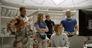 From left to right: Matt Damon (Watney), Jessica Chatsain (Lewis), Sebastian Stan (Beck), Kate Mara (Johanssen), and Aksel Hennie (Vogel) as the Ares 3 crew. Not pictured Micheal Peña as Martinez
