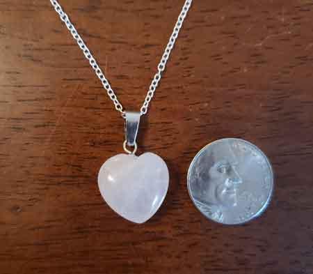 Rose Quartz Heart Necklace, gemstone, necklace, fourth chakra healing, gemstone for heart chakra