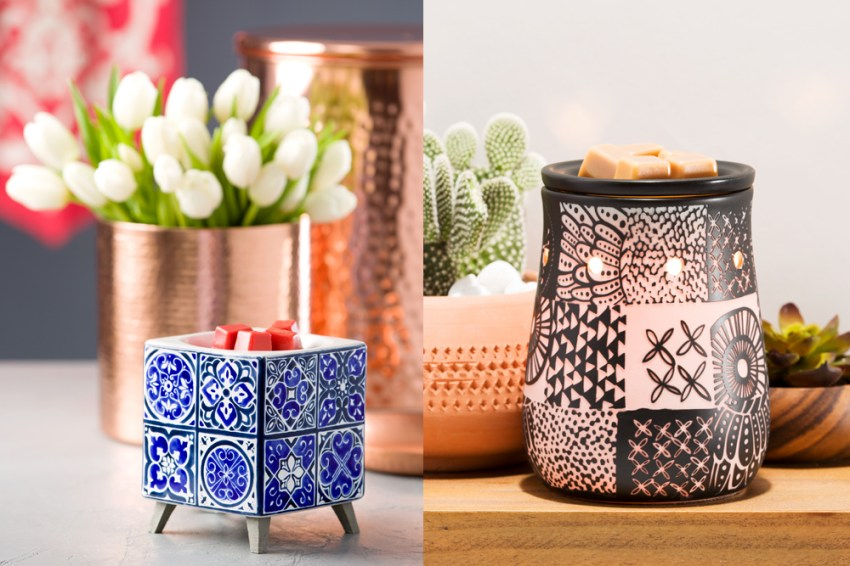 photos of Scentsy's modern tribal and indigo tile warmers