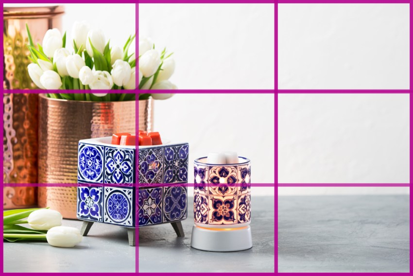 Photo of Scentsy's Indigo tile warmers in a styled shot following the rule of thirds
