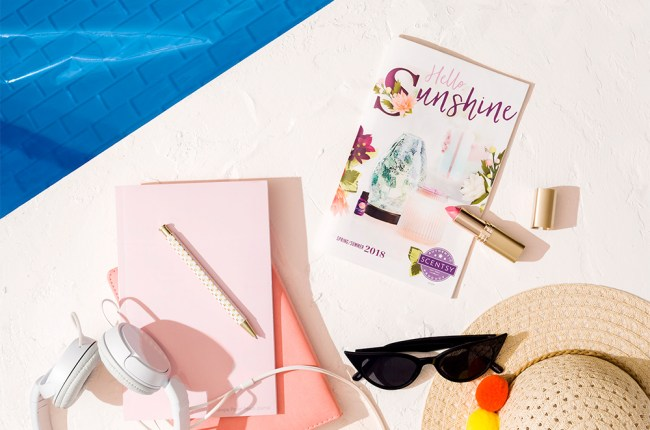 Photo of Scentsy catalog and go in a summer setting