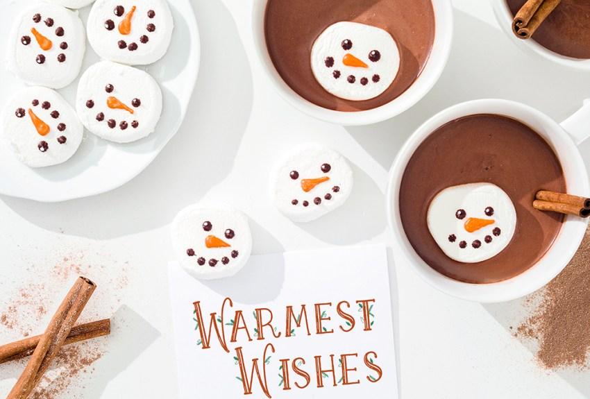 photo of cocoa and snowman mashmallows