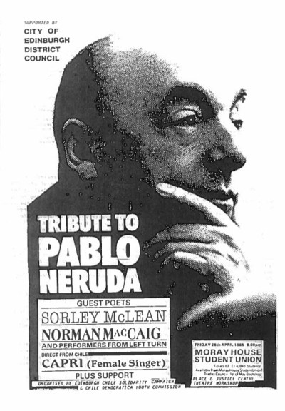black and white poster for Neruda night featuring Sorley McLean and Norman MacCaiig