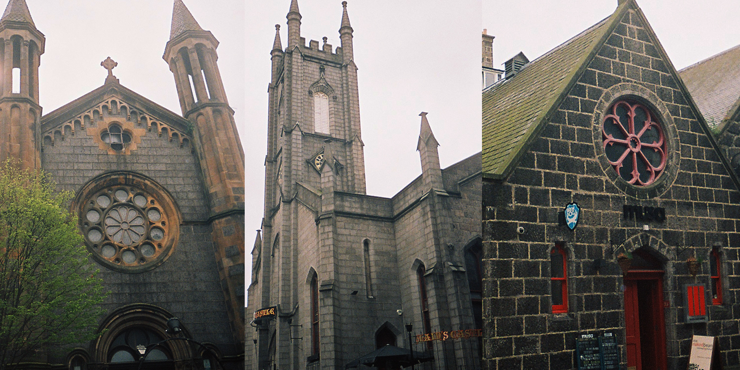 Priory, Slain's and Musa; all former churches, now bars in Aberdeen