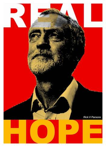 An election poster with words Real Hope imposed on image of Jeremy Corbyn: credit Rik V Parsons