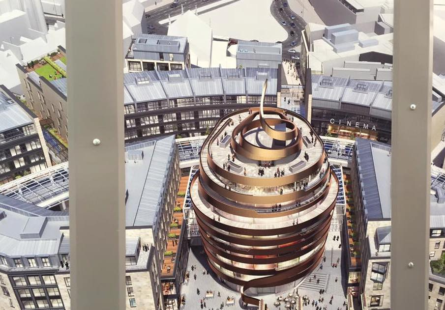 Artists impression of the infamous 'Golden Turd' hotel at the heart of Edinburgh St James development