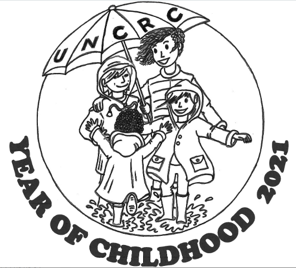 Year of Childhood logo showing smiling children splashing in a puddle beneath protective umbrella of United Nations Convention on the Rights of the Child