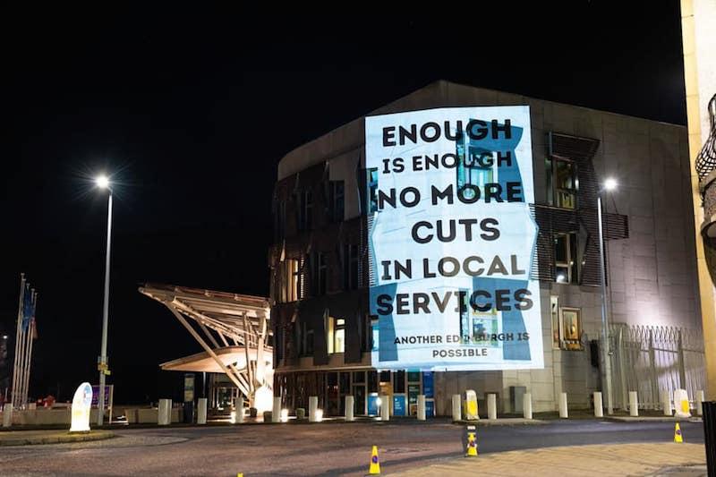 No more cuts, an Edinburgh demonstration