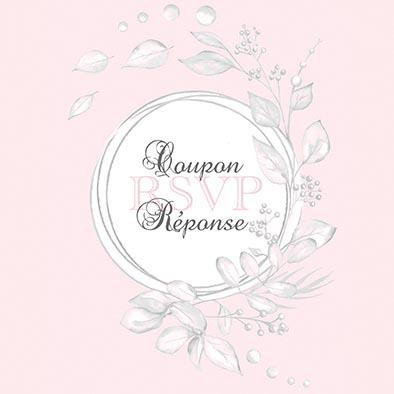 coupon-réponse mariage fleurs blanc rose gris