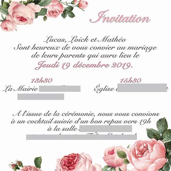 faire-part mariage pochette ciselée fleurs rose et argent